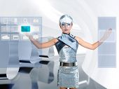 futuristic children girl in silver touch finger copyspace glass holographic screen [ photo-illustrat