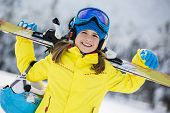 foto of apr  - Skiing, winter, child - young skier in winter resort  - JPG