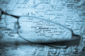 Selective Focus On Map Of Canada