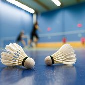 badminton - badminton courts with players competing; shuttlecocks in the foreground (shallow DOF; co