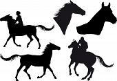 five silhouettes of horses horse heads and riders