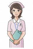 Young Cute Nurse With Clipboard Smiling