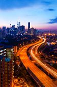 sunset and busy highway at Kuala Lumpur