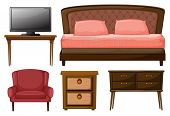 Illustration of a television on a table, twin bed, chair, side table and a work table on white backg
