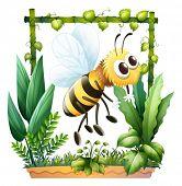 Ilustração de uma abelha no jardim sobre um fundo branco