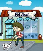 Illustration of a smiling girl with dog and a pet shop