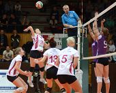 KAPOSVAR, HUNGARY - JANUARY 27: Zsanett Pinter (with ball) in action at the Hungarian I. League voll