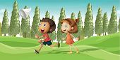 Illustration of a running boy and a girl with net