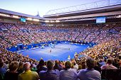MELBOURNE - JANUARY 27: Crowd t Rod Laver Arena during the 2013 Australian Open Mens Championship Fi