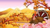 Illustration of a turkey near the mountain