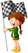 Illustration of a smiling kid holding a flag on a white background