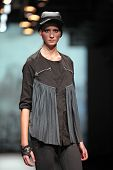 ZAGREB, CROATIA - OCTOBER 18: Fashion model wears clothes made by Jet Lag at 'Croaporter' fashion sh