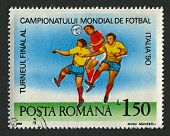 ROMANIA - CIRCA 1990: Postage stamps printed in Romania dedicated to FIFA World Cup (1990) in Italy,