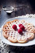 Sweet And Delicious Waffles With Fruits