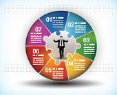 Design template of a colorful business wheel chart with seven segments or components and a central f