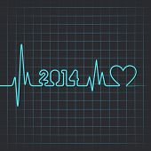 stock photo of heartbeat  - Illustration of heartbeat make 2014 stock vector - JPG
