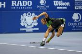 KUALA LUMPUR - SEPTEMBER 28: Joao Sousa plays a return to Jurgen Melzer in a semi-final match of the