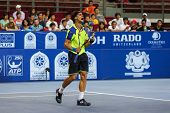 KUALA LUMPUR - SEPTEMBER 27: David Ferrer reacts during a quarter-final match playing Joao Sousa at