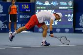 KUALA LUMPUR - SEPTEMBER 28: Jurgen Melzer thrashes his racket after a bad play in a semi-final matc