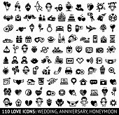 stock photo of sms  - Set of 110 love flat icons - JPG