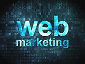 SEO web design concept: Web Marketing on digital background