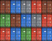 Colorful Metal Freight Shipping Containers Seamless Photo Background Texture