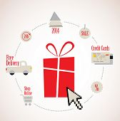 present With E-Commerce Icon Around Online Shopping