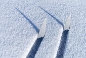Fragments Of Cross-country Skis In A Friable Snow With Shadows