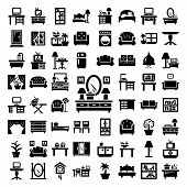 stock photo of house plants  - 64 Elegant Vector Furniture Icons Set - JPG