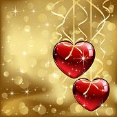 Two hearts on golden background