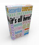 A product box or package with the words It's All Here and related phrases essential, complete, all-inclusive, total, full, options, qualities, everything deluxe, features and more