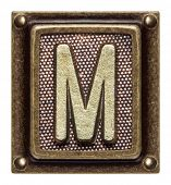 Metal button alphabet letter M