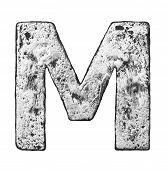 Metal alloy alphabet letter M
