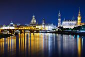 Dresden, Germany cityscape over the Elbe River.