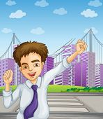 Illustration of a happy businessman near the pedestrian lane