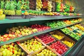 stock photo of exotic_food  - Interior of empty supermarket - JPG