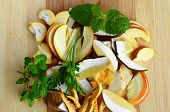 image of chanterelle mushroom  - Mushroom soup ingredients delicious forest mushrooms  - JPG