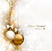 foto of gold  - Christmas background with two Christmas baubles - JPG