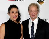 LOS ANGELES - SEP 28:  Linda Lowy, Jeff Perry at the Grey's Anatomy 200th Show Party at The Colony on September 28, 2013 in Los Angeles, CA