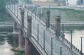 Kaunas, Lithuania. Vytautas the Great (Aleksotas) Bridge in the fog