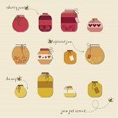 Vintage jams vector collection.
