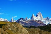Argentine Patagonia. The famous rocky mountain Fitzroy against the blue sky