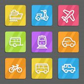 Transport web icons, color flat buttons