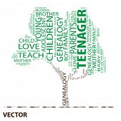 Vector eps concept or conceptual green teenager text word cloud or tagcloud as a tree isolated on wh