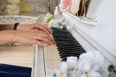 Close Up Of Woman Playing Piano