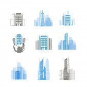 Modern city silhouettes collection isolated on white