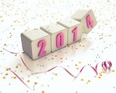 Cubes with 2014 year digits, confetti, curved ribbon on white background. New Year theme. 3D render.