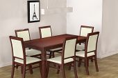 Modern Table And  Chairs To Face A Blank Wall