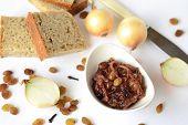 Onion confiture (jam), selective focus