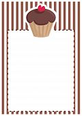 Retro vector restaurant menu, wedding card, list or baby shower invitation with chocolate cupcake
